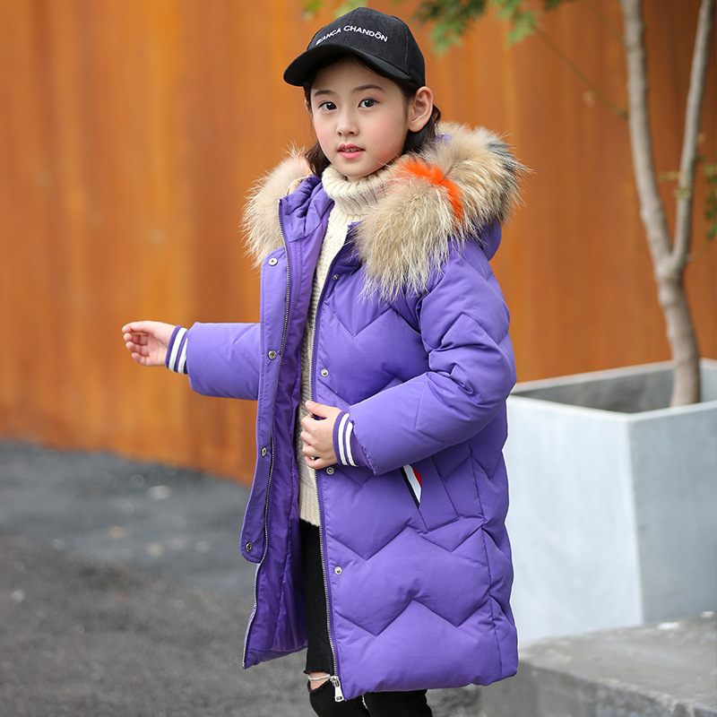 Kids Winter Jacket Coat 2018 Fur Hood Jacket for Girls Children Snow Wear Parka Thick Warm Down Children Christmas Winter Coat hai yu cheng winter parka men puffer jacket coat male thick trench luxury brand men windbreaker snow wear parka jacket l 188 07