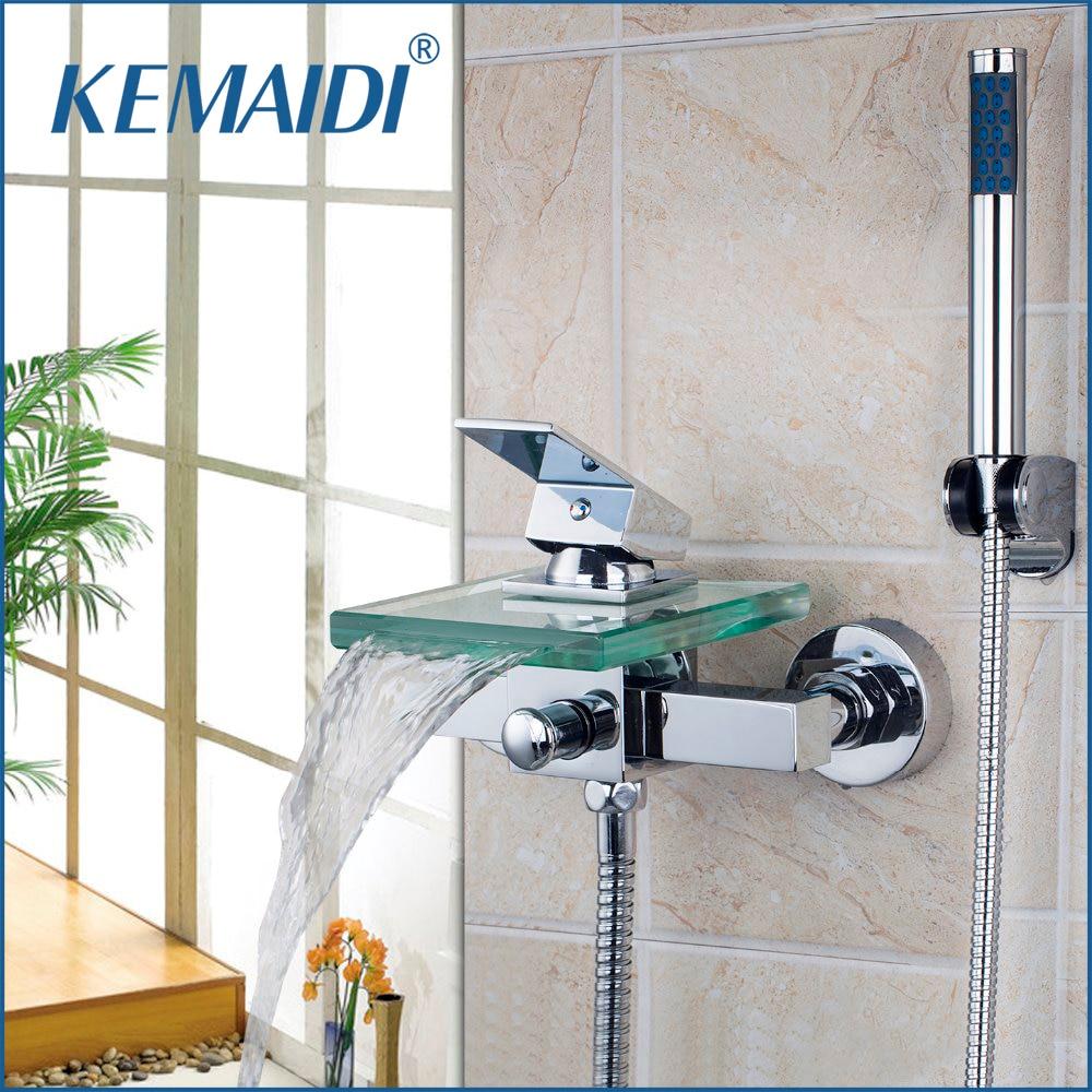 ברזי אמבט ורחצה KEMAIDI כיכר קיר רכוב רחצה מפל זכוכית זרבובית ברז אמבטיה מיקסר ברז מקלחת אמבט כף יד