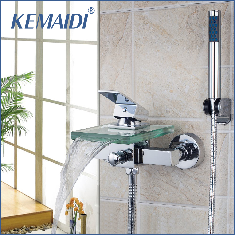 KEMAIDI Bath & Shower Faucets Square Wall Mounted Waterfall Glass Spout Bathroom Bath Handheld Shower Tap Mixer Bathtub Faucet free shipping polished chrome finish new wall mounted waterfall bathroom bathtub handheld shower tap mixer faucet yt 5331