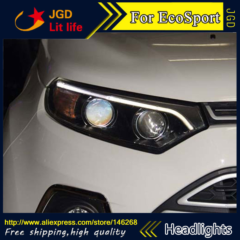 high quality ! HID LED headlights headlamps HID Hernia lamp accessory products case for Ford EcoSport 2013 2014 2015 Car styling car front bumper mesh grille around trim racing grills 2013 2016 for ford ecosport quality stainless steel