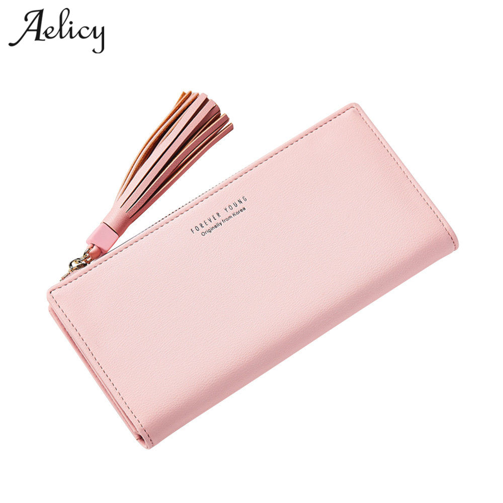 Aelicy new design long ladies clutch female fashion bags tassel pu leather womens wallets and purses luxury brand famous 2018 womens wallets and purses famous 2016 fashion money clip wallet women luxury brand matte stitching long clutch free shipping
