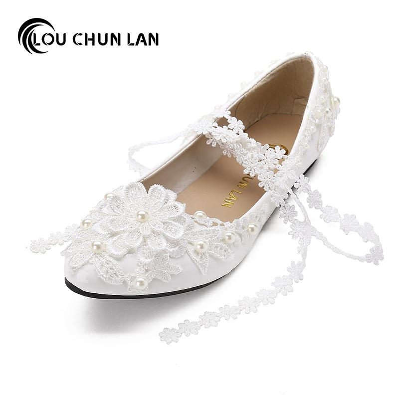Adults Flats White lacing bridesmaid Flat handmade Wedding Shoes Rhinestone Lace bride performance Shoes Female Free Shipping