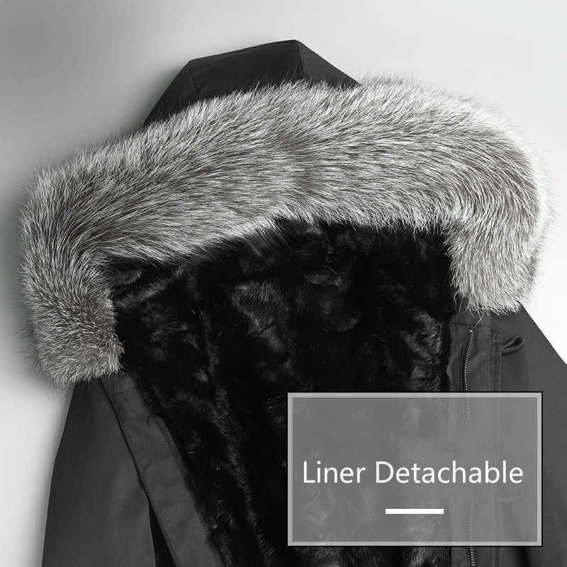 AYUNSUE реального норки лайнер зима Natual Меховая куртка Для мужчин лиса меховой воротник Для мужчин пальто парка мужской теплый Роскошные пальто P-MEB7135-1 KJ804