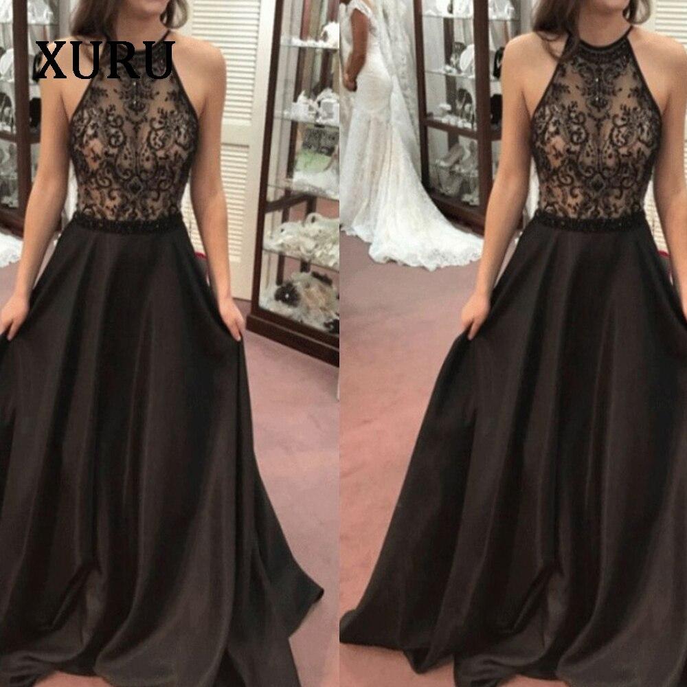 XURU new sequin dress bohemian lace halter sleeveless autumn black long