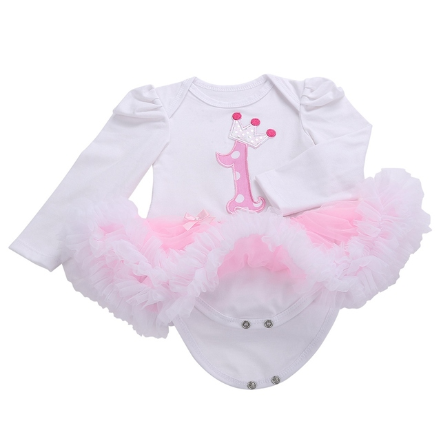 First Birthday Girl Tutu Set Newborn Clothing Ruffle Baby Clothes Baby Girl Christening Gowns Party Dress Headband Shoes Set 1