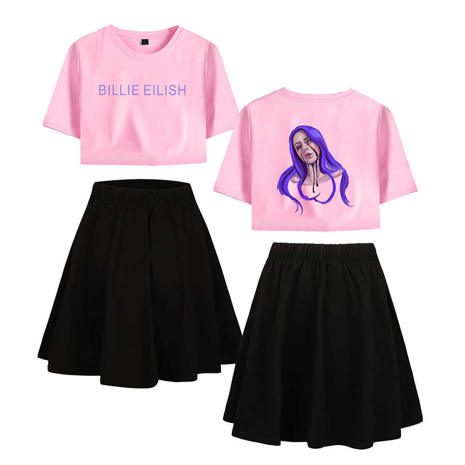 Kpop BILIE EILISH Women Crop Top Skirt Two Pic Skirts Streetwear Summer Dress Comfortable Harajuku White Sexy Cloth Plus Size