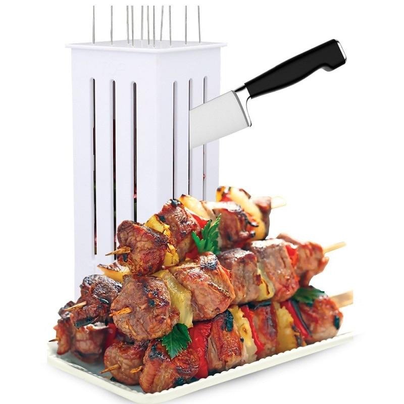 Fácil barbacoa Kebab de carne brochetas brocheta de parrilla de barbacoa accesorios herramientas brocheta de carne de la máquina con 16 brochetas