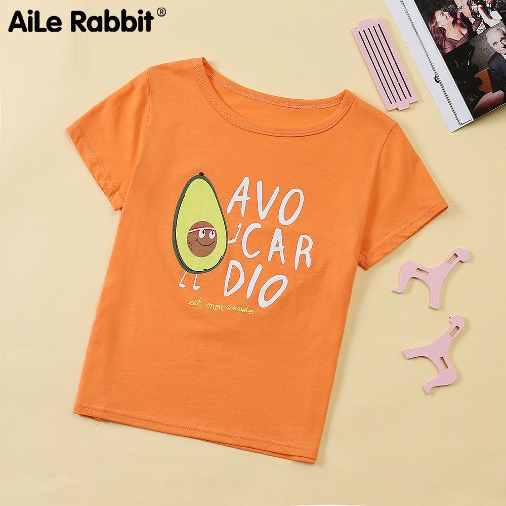T-Shirts Orange Short-Sleeved Wholesale Children's Summer Wear Fruit Letter Jacket Cross-Border