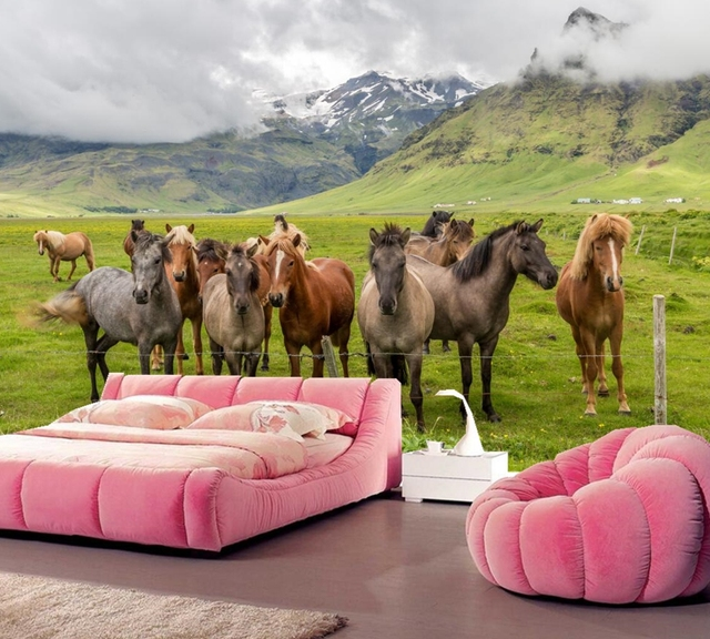 The horses on the prairie animal wallpaper,living room tv sofa wall bedroom restaurant bar 3d wall murals papel de parede