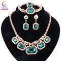 Boho зеленый кристалл с серьгами заявление ожерелье 2016 Женщин ювелирные наборы для свадьбы hot sale Модные ожерелье