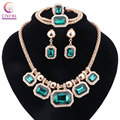 Boho green crystal with earrings statement necklace 2016 Women jewelry sets for party wedding hot sale Trendy necklace