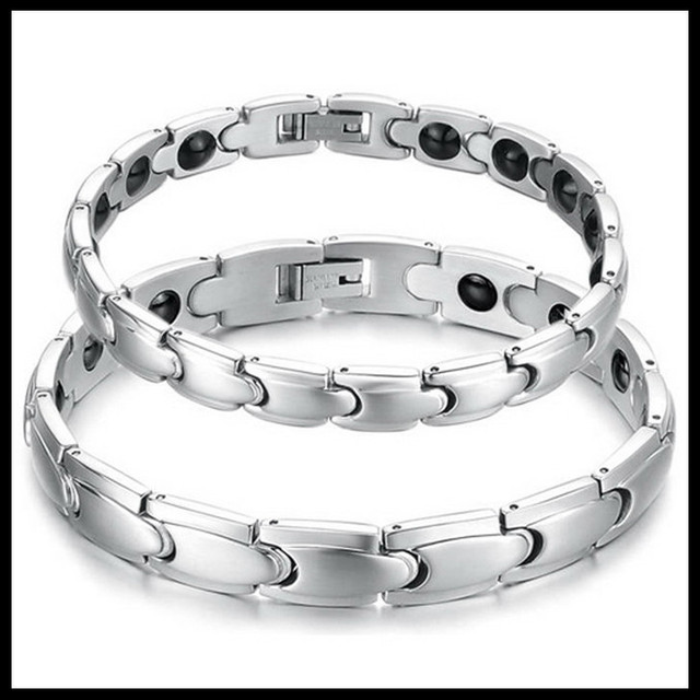 Tennis Bracelet Jewelry With Energy Magnetic Stone Wedding Gift Silver Stainless Steel Healthy Balance Bracelets