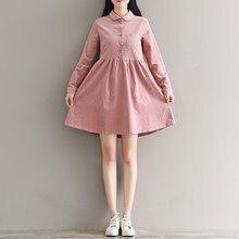 a8e322bcf6a3 Autumn Winter Cotton Dress 2018 New Women Peter Pan Collar Corduroy Shirt  Dresses Mori Girl Pink Vintage Vestidos M-XXL