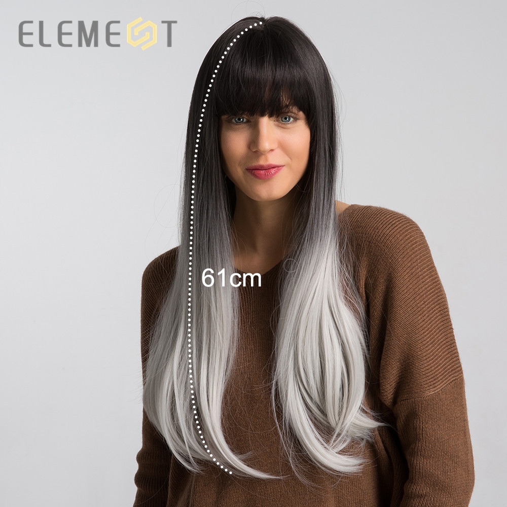 Element 26 Inch Long Straight Synthetic Wig Black Root Ombre White Fashion Cosplay Party Wigs For Women Average Cap Size