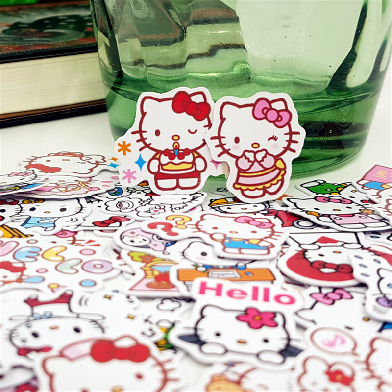 50 Pcs Cartoon Fancy Cat Stickers Student Supplies DIY Sticker Waterproof Graffiti Sticker For Laptop Book Luggage Kids Toys