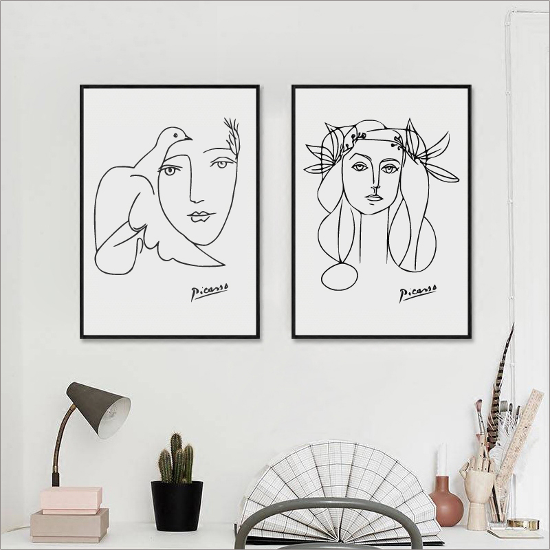 Picasso Poster Modern Minimalist Kadın Sanat Picasso Kız Yüz Kroki