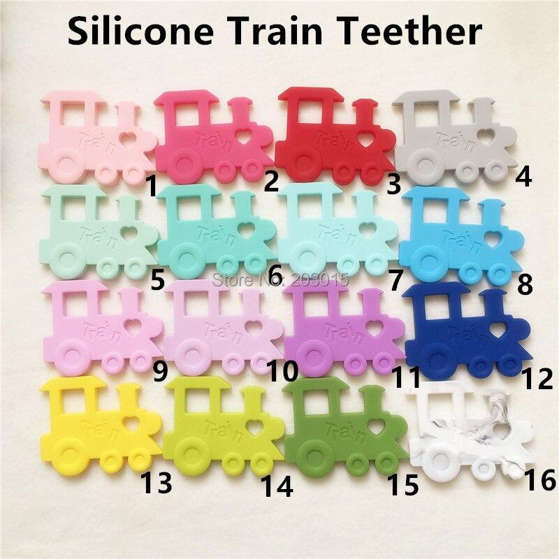 Chenkai 5PCS BPA Free DIY Silicone Train Teether Pendant Nursing Baby Shower Pacifier Dummy Teething Sensory Toy Accessories