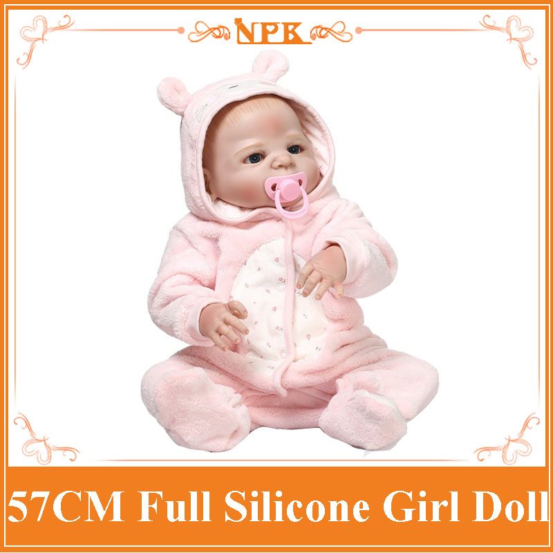 22 Inch Dolls NPK Full Silicone Reborn Baby Dolls Handmade Realistic Lifelike Real Touch Vinyl Silicone Newborn Doll Girl Gift hot sale 2016 npk 22 inch reborn baby doll lovely soft silicone newborn girl dolls as birthday christmas gifts free pacifier