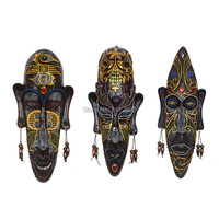 6 Styles African Masks Decor Resin Miniature Figurines Retro Wall Hanging Decorations Bars Cafe KTV Home
