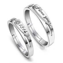 100% 925 sterling silver romantic love you letter lovers`couple rings jewelry women men`s wedding finger open ring drop shipping
