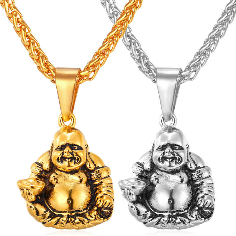 Kpop 2016 Smile Maitreya New Necklace Pendant yellow Gold Color Stainless Steel Chain Necklace For Buddhism Jewelry P261