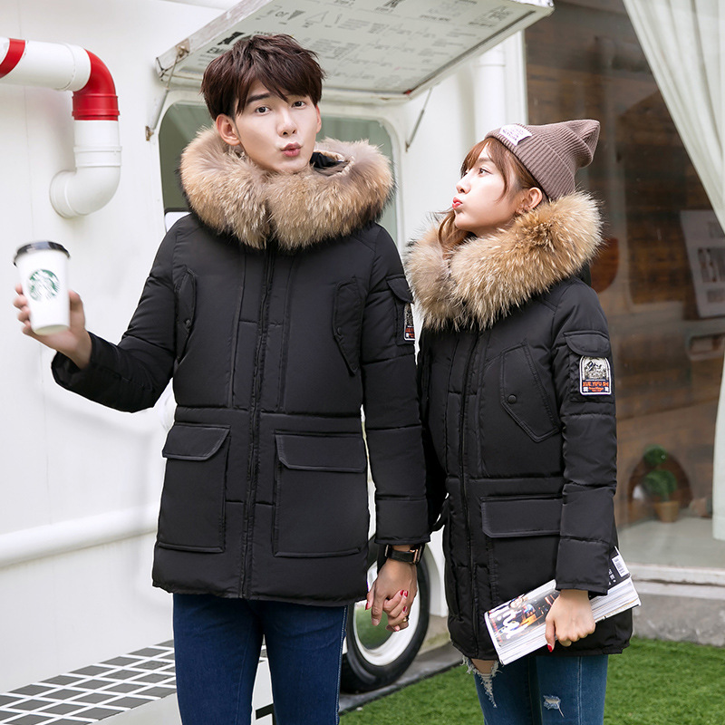 Men And Women Winter Down Jacket Couple Coat Fashion Thicken Warm FuCotton-padded Zippered Fur Collar The Students Outercoat men s chemical fiber blended fabric warm zippered jacket coat black xl
