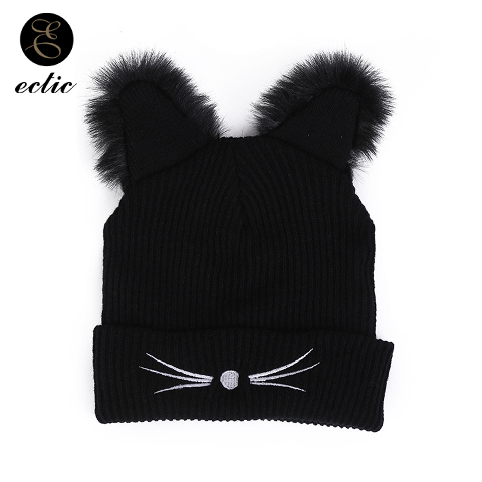 4bd4cd2a0e4 Kawaii Hat Cat Ears Cap Warm Faux Fur Pom Poms Winter Hat Female Harajuku  Beanie Embroidery