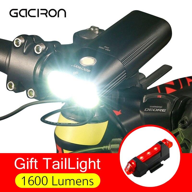 GACIRON Professional 1600 Lumens Bicycle Light USB Rechargeable MTB Bike Headlight Power Bank Waterproof Front Light