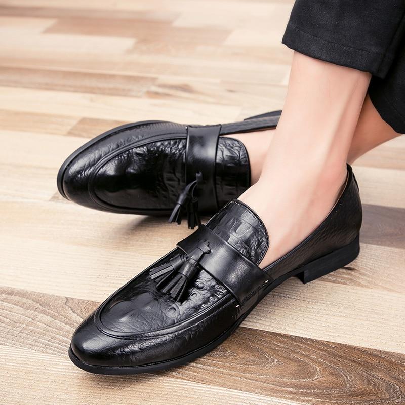 Big Size 47 Classic Patent Leather Wedding Shoes Mens Slip-On  Banquet Loafers Moccasins Tassel Fringe Formal Dress Shoes P4