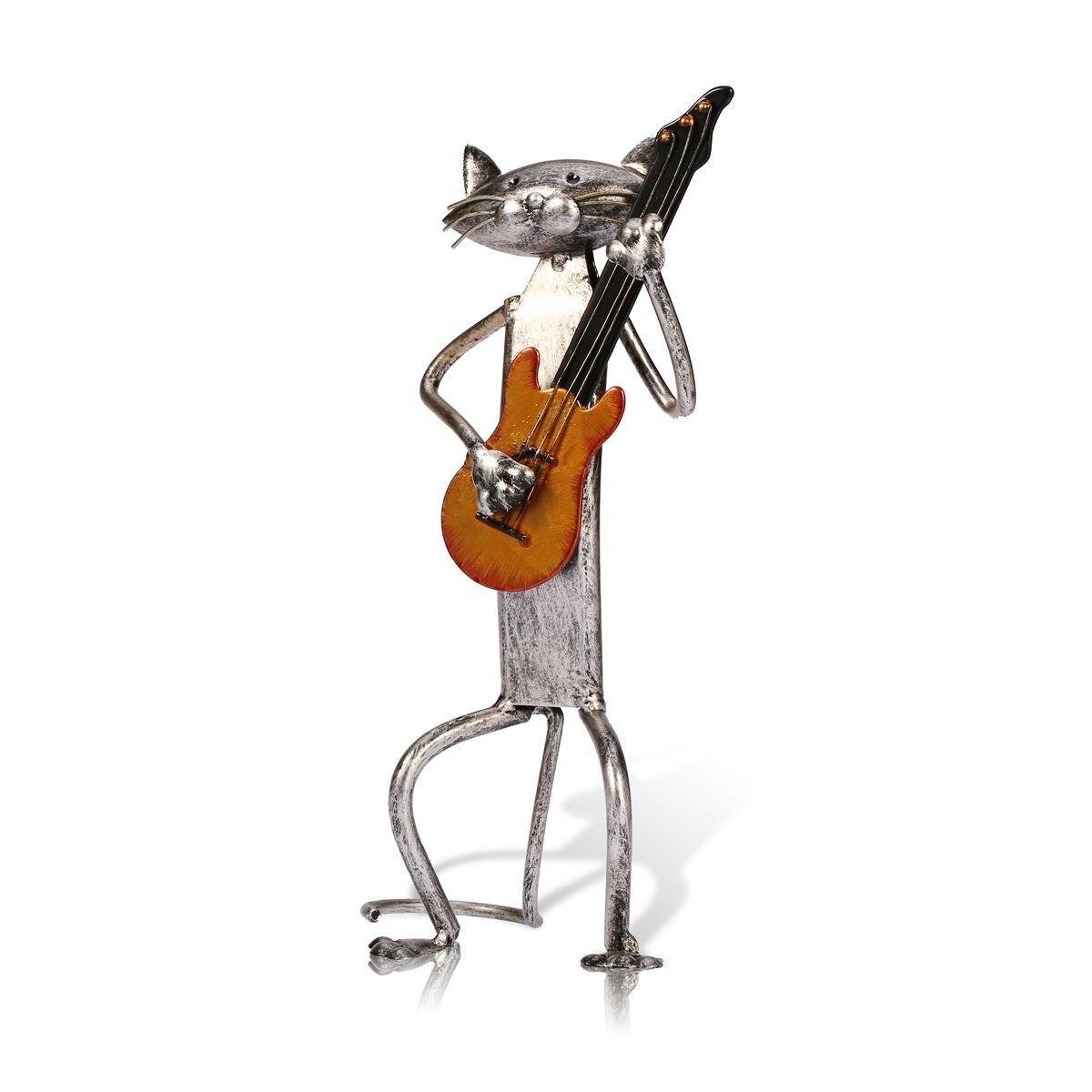 Figurine en métal pop A jouer de la guitare Saxophone chant chat Figurine Articles d'ameublement artisanat cadeau pour la décoration de la maison