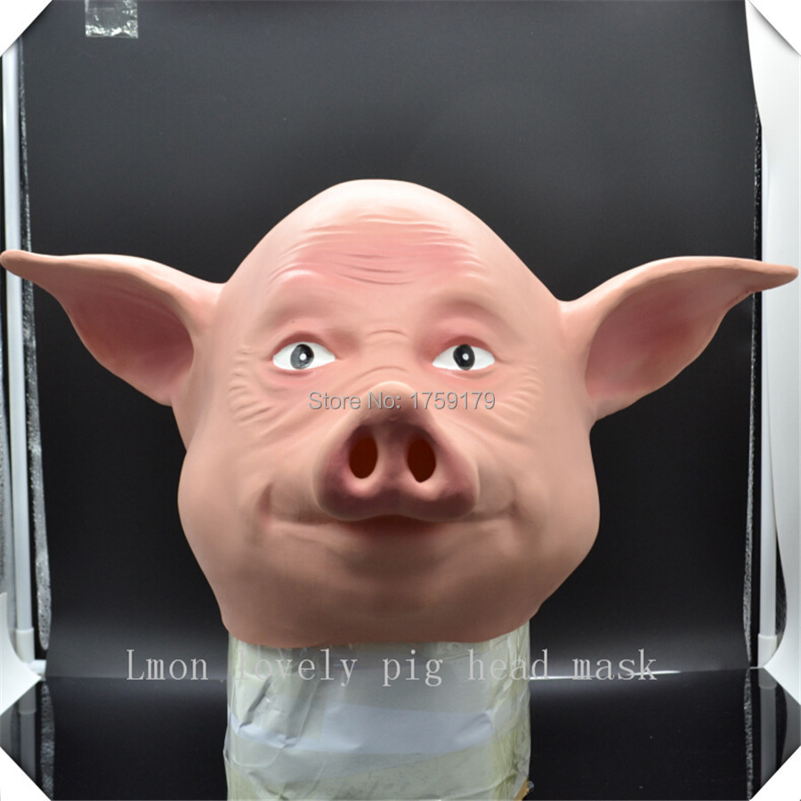 Hot selling latex adult size full head cute pig animal halloween ...