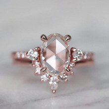 New Arrival Fashion 2 Pcs/Set Rose Gold Rings Set White Crystal Oval Ring For Women  Anniversary Engagement Ring Jewelry Gifts new arrival fashion 2 pcs set rose gold rings set white crystal oval ring for women anniversary engagement ring jewelry gifts