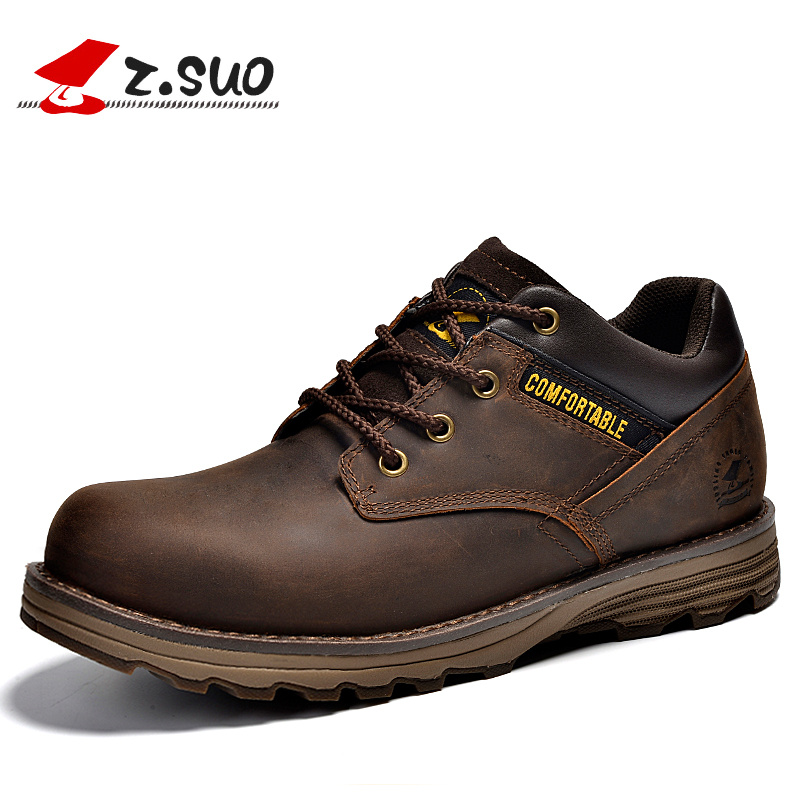 Z.Suo Mens Casual Shoes Boots Genuine Leather Men's Working Safety Tooling Boot Shoes Outdoor Light Retro Shoe ZS16500