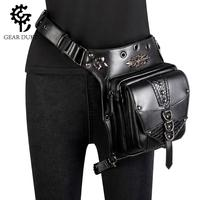 GEARDUKE Punk Gothic Rivets Motorcycle Bag Women Men Steampunk Chain Belt Waist Bag Moto Biker Shoulder Messenger Bag Chest Pack