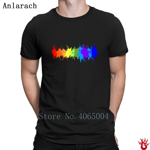9ac9b24d4056bf Customize Rainbow Paint Splash Drips Gay Pride Tshirts Cool T Shirt For Men  Spring Fitness Leisure Round Neck Funny Casual