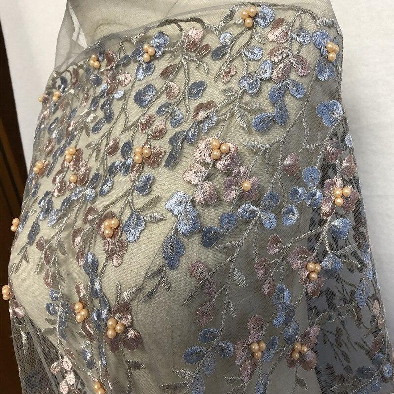 1Yard Handgjorda Beaded Flower Mesh Broderade Tyger African Lace - Konst, hantverk och sömnad