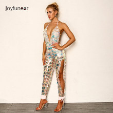 66a5e205285 Joyfunear 2018 Latest Autumn Sexy Rompers Womens Jumpsuit Backless Bodycon Jumpsuits  V-Neck Bandage Overalls
