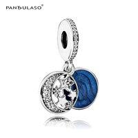 Pandulaso Luna y Estrella Azul Cielo de La Noche de La Vendimia para La Joyería Que Hace Fit Pulseras Del Encanto de la Moda de Invierno de Plata de Ley-joyería
