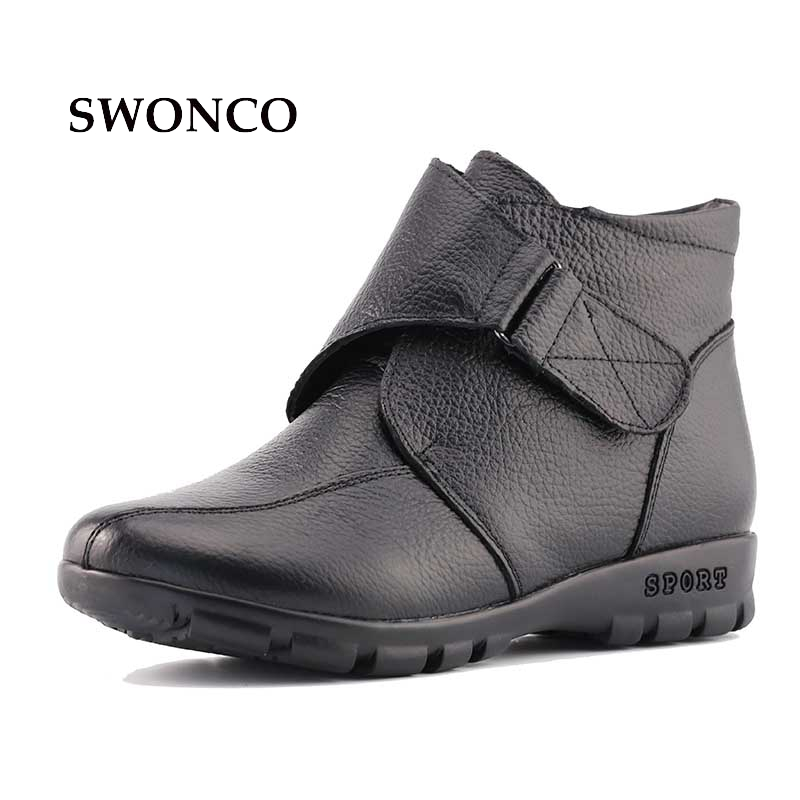 Plus Size 43 Snow Boots Winter Warm Plush Non-slip Women Boots Mother Casual Shoes High Quality Hook & Loop Female Ankle Shoes цена