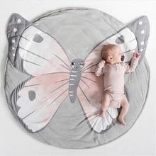 Круглый игровой коврик с оленем, Кроликом, бабочкой, ползающее одеяло, коврик для игр для младенцев, коврик для пола, спортивный коврик для ребенка, Декор для дома