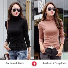 Camiseta de manga larga para mujer, camiseta térmica de invierno, camisetas de cuello alto, ropa de otoño Primavera, camisas ajustado fino, 2 unids/lote