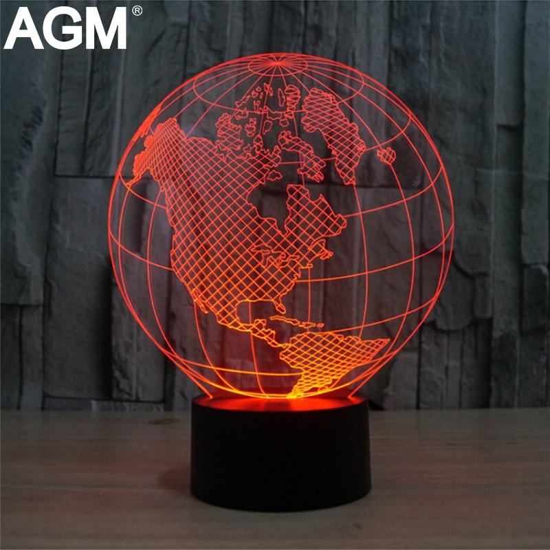 America Europe Globe 3D Lamp LED Night Light Table lamp 7 Colors Changing Novelty Led Desk Lamp USB Luminaria Nightlights 3d table lamp luminaria led night light
