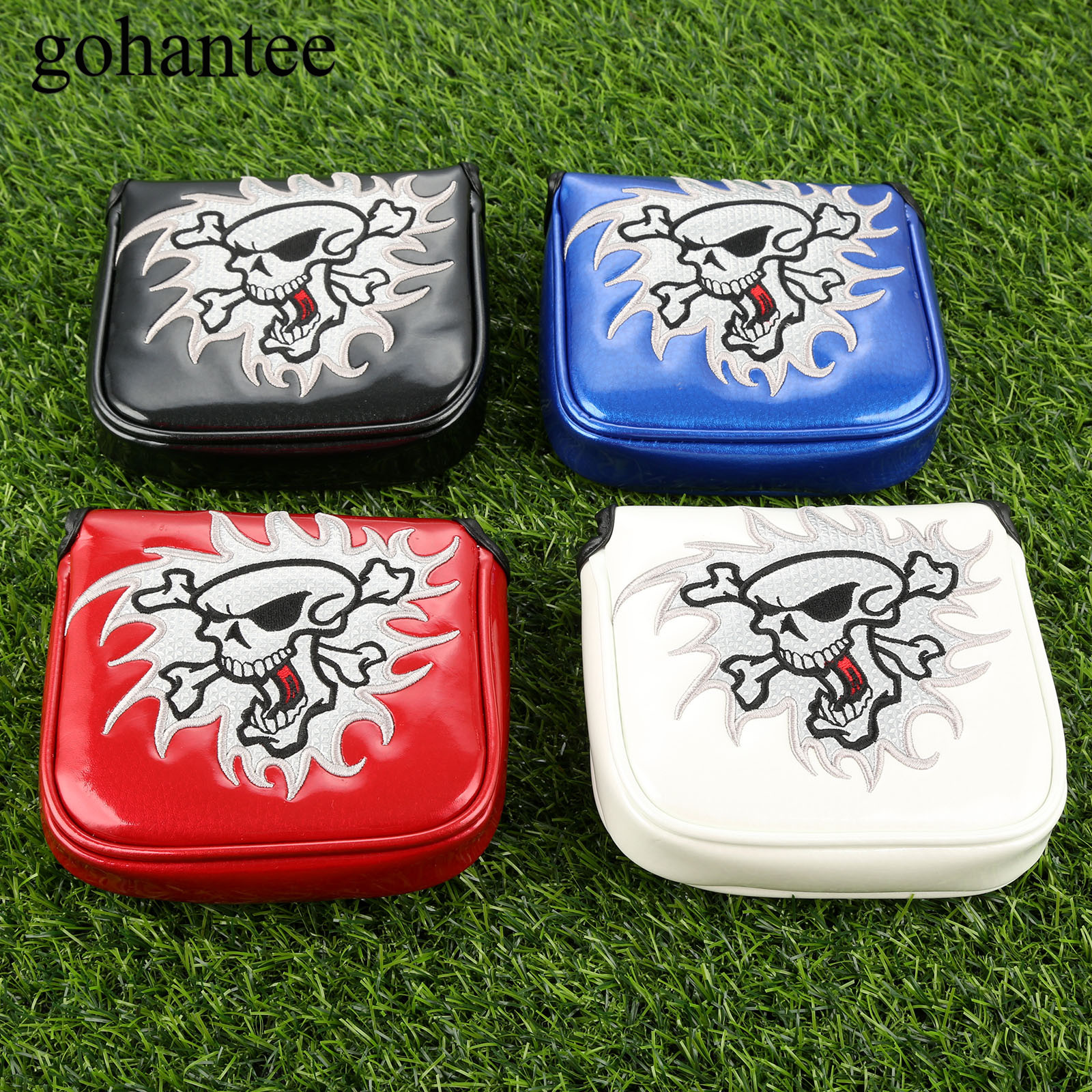 1 Pc Square Golf Putter Headcover PU Leather Golf Club Head Covers With Magnetic Closure Fit All Mallet Style Putters 4 Colours