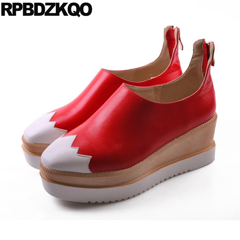 11 43 High Heels White Wedge Shoes Round Toe 2017 Size 4 34 Female Red Plus 10 42 Platform Women Zipper Autumn Fashion Spring medium round toe creepers black wedge cool shoes platform high heels size 4 34 ladies white plus casual pumps spring fashion new