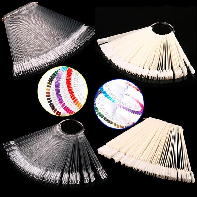 False Display Nail Art Fan Wheel Polish Practice Tip Sticks Nail Art 50pcs