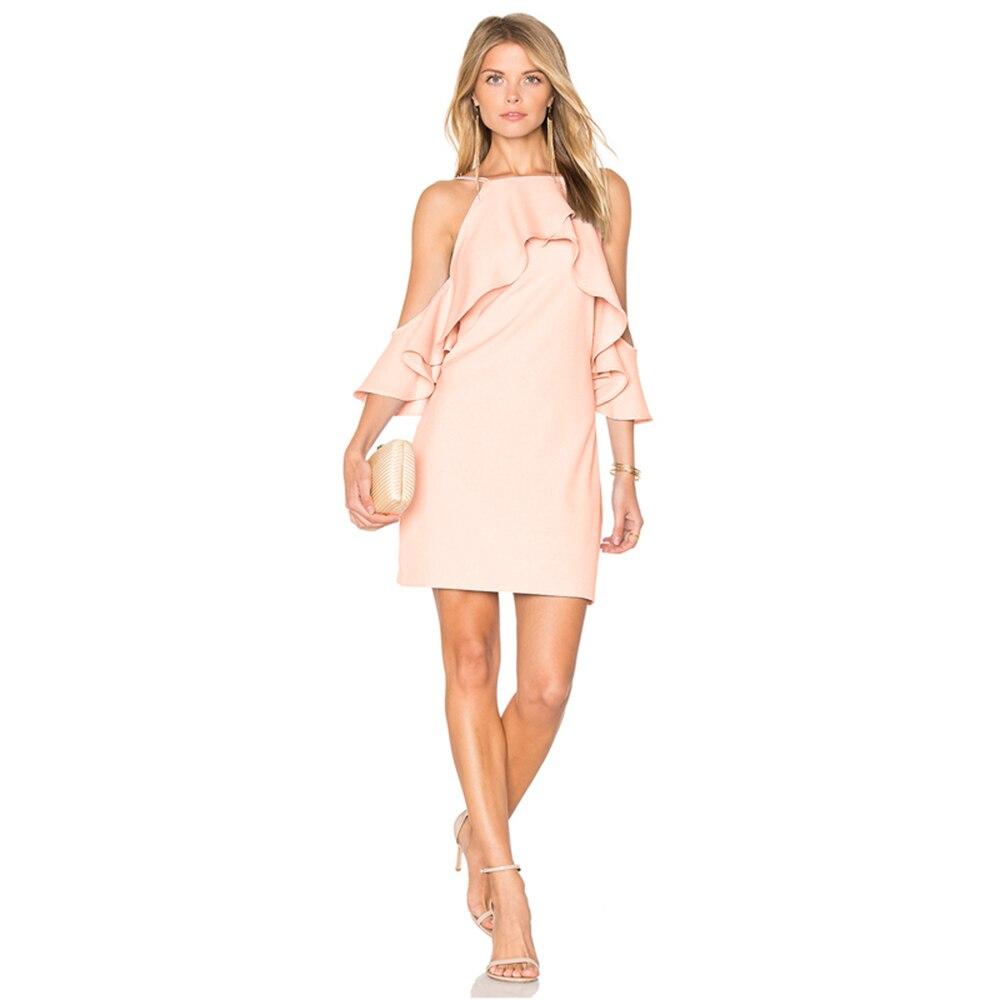 DOMODA Solid Pink Backless Mini Dress Women Clothing Off Shoulder ...