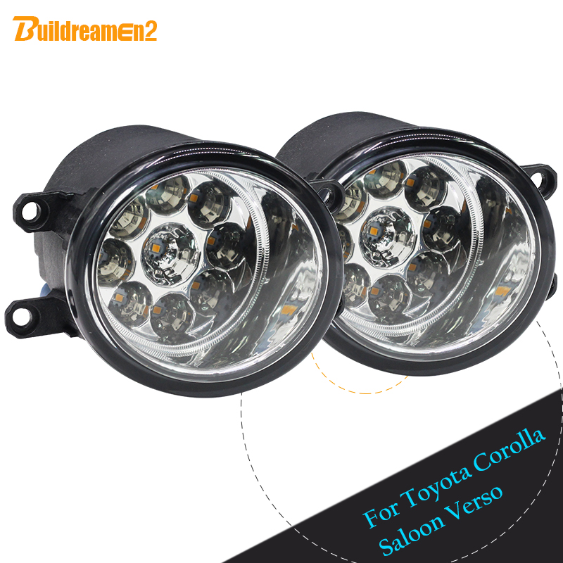 Buildreamen2 For Toyota Corolla Saloon Verso 2 x H8 H11 Car Styling LED Light Left + Right Fog Light Daytime Running Light DRL cawanerl 2 x car left right fog light led light daytime running light for nissan march geniss nv3500 ma chi rogue nv400 urvan