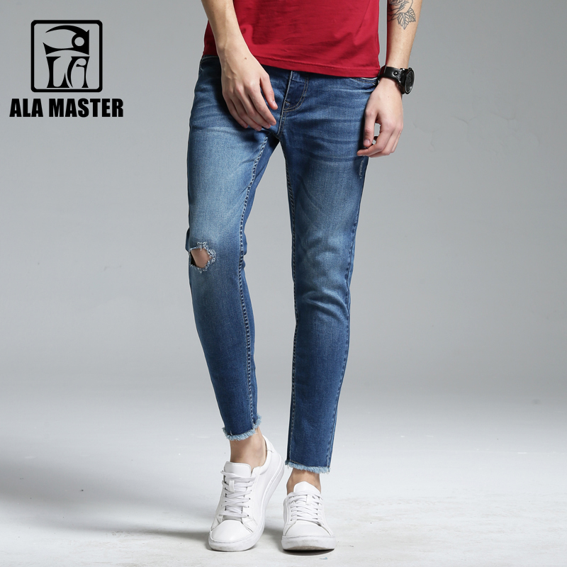 A LA MASTER 2018 Pencil Mens Jeans Brand Light Wash Holes Skinny jeans Summer Casual Jeans for Mens