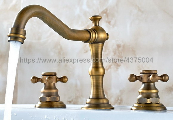 Antique Brass bathroom faucet for hot and cold Mixer tap Sink faucet Double handle 3 hole bathroom basin faucet Nnf055 phasat 907 retro arched 3 hole dual handle bathroom sink faucet antique brass