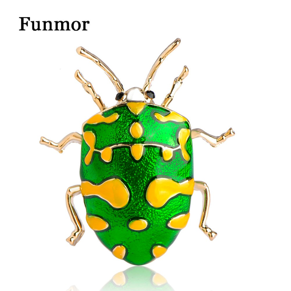 Blucome Enamel Green Insect Brooch Gold-Color Vivid Yellow Spot Beetle Hijab Pins UP Women Kid Corsage Cute Animal Bijoux Broche